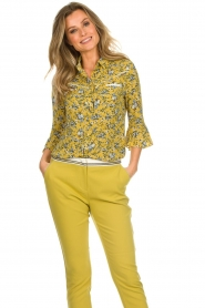 Aaiko |  Floral blouse Silie | ochre yellow  | Picture 2