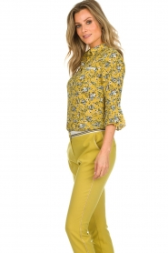 Aaiko |  Floral blouse Silie | ochre yellow  | Picture 5