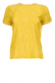 Aaiko |  Top with cut-out details Fleuron | ochre yellow  | Picture 1