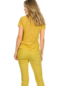Aaiko |  Top with cut-out details Fleuron | ochre yellow  | Picture 5