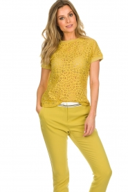 Aaiko |  Top with cut-out details Fleuron | ochre yellow  | Picture 2