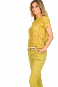 Aaiko |  Top with cut-out details Fleuron | ochre yellow  | Picture 4
