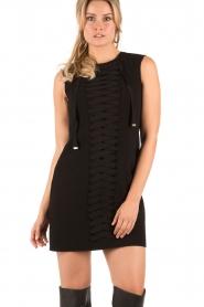 ELISABETTA FRANCHI | Lace-up jurk Ballare | Zwart  | Afbeelding 2