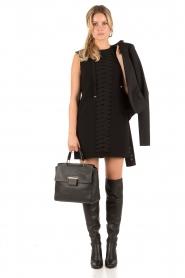 ELISABETTA FRANCHI | Lace-up jurk Ballare | Zwart  | Afbeelding 3