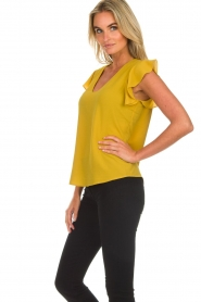 Aaiko |  Top with ruffle sleeves Deno | ochre yellow  | Picture 4