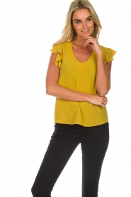 Aaiko |  Top with ruffle sleeves Deno | ochre yellow  | Picture 3