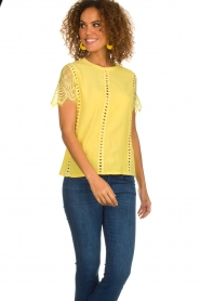 Aaiko |  Top with lace details | yellow  | Picture 4