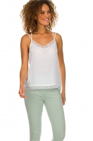 Aaiko |  Sleeveless top with lace Vlint | white  | Picture 2
