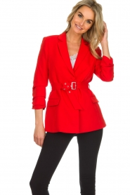 Aaiko |  Blazer with belt Celina | red  | Picture 2