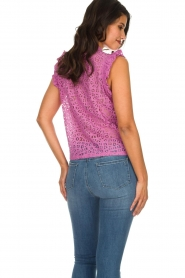 Aaiko |  Top with cut-out details Floria | purple  | Picture 5