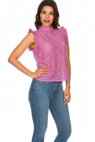 Aaiko |  Top with cut-out details Floria | purple  | Picture 4