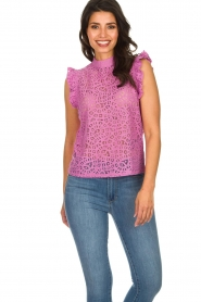 Aaiko |  Top with cut-out details Floria | purple  | Picture 2