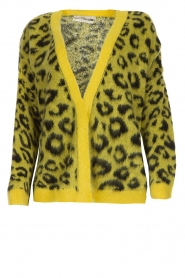 Aaiko |  Cardigan with leopard print | yellow  | Picture 1