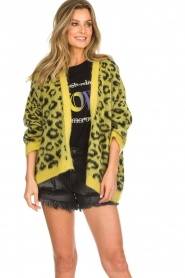 Aaiko |  Cardigan with leopard print | yellow  | Picture 4