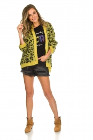 Aaiko |  Cardigan with leopard print | yellow  | Picture 3