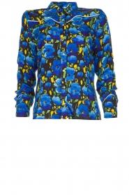 Aaiko |  Floral blouse Blaxi | blue  | Picture 1
