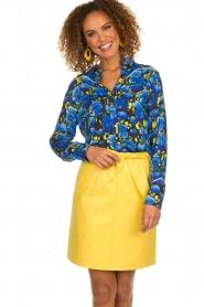 Aaiko |  Floral blouse Blaxi | blue  | Picture 4