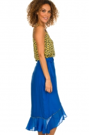 Aaiko |  Top with panther print and lace Vlint | yellow  | Picture 4