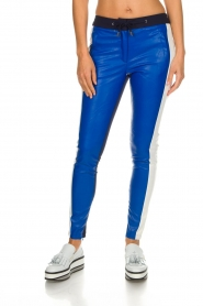 Aaiko |  Three-coloured pants with PU leather Sosa | blue  | Picture 2