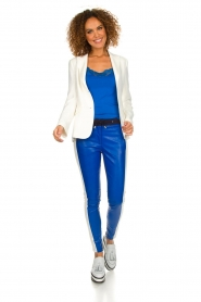 Aaiko |  Three-coloured pants with PU leather Sosa | blue  | Picture 3