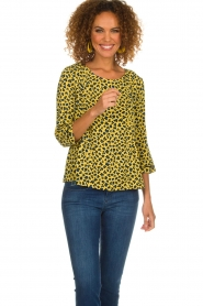 Aaiko |  Top with panther print Alta | yellow  | Picture 2