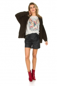 Ruby Tuesday | Leren shorts Lana | Zwart  | Afbeelding 3