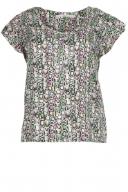 Aaiko |  Snakes print top with ruffle sleeves Deno | multi  | Picture 1