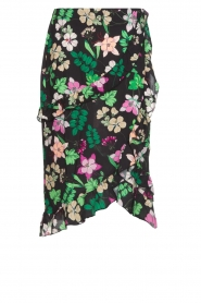 Aaiko |  Floral skirt with ruffles Coby | black  | Picture 1