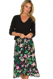 Aaiko |  Floral skirt with ruffles Coby | black  | Picture 2