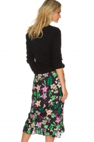 Aaiko |  Floral skirt with ruffles Coby | black  | Picture 5