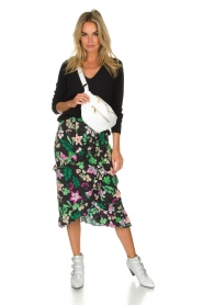 Aaiko |  Floral skirt with ruffles Coby | black  | Picture 3