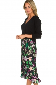 Aaiko |  Floral skirt with ruffles Coby | black  | Picture 4
