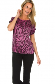 Aaiko |  Zebra print top Merle | purple  | Picture 2