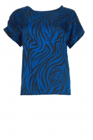 Aaiko |  Top with zebra print Merle | blue  | Picture 1