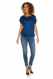 Aaiko |  Top with zebra print Merle | blue  | Picture 3