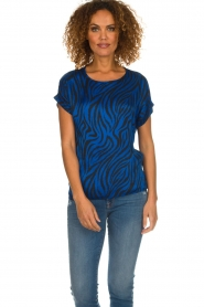 Aaiko |  Top with zebra print Merle | blue  | Picture 2