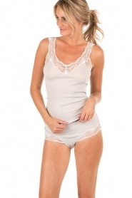 Tanktop with lace Valencia   light grey