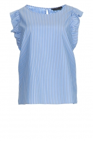 Set |  Striped top with ruffles Lottie | blue  | Picture 1
