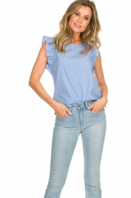 Set |  Striped top with ruffles Lottie | blue  | Picture 4