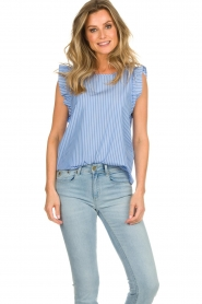 Set |  Striped top with ruffles Lottie | blue  | Picture 2