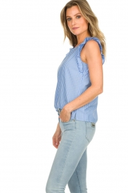 Set |  Striped top with ruffles Lottie | blue  | Picture 5