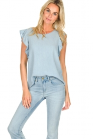 Set |  Top with ruffle sleeves Philou | blue  | Picture 2