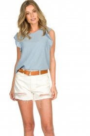 Set |  Top with ruffle sleeves Philou | blue  | Picture 4