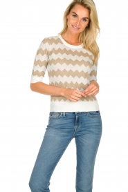 Set |  Zigzag print sweater Zinzi | white  | Picture 2