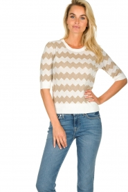 Set |  Zigzag print sweater Zinzi | white  | Picture 3
