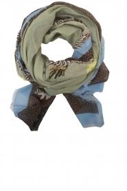 Becksöndergaard | 100% Katoenen sjaal met print | lichtgroen  | Afbeelding 1