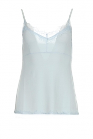 Set |  Silk sleeveless top with lace Mees | blue  | Picture 1