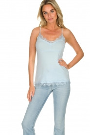 Set |  Silk sleeveless top with lace Mees | blue  | Picture 2