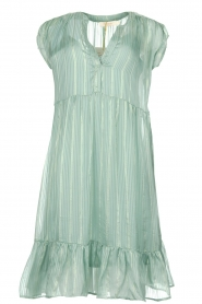 Rabens Saloner |  Dress with gold lurex stripes Eliza | blue  | Picture 1