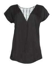 Rabens Saloner |  Top with see-through V-neck Fia | black  | Picture 1